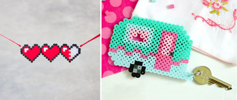 Perler bead retro camper hama bead hearts necklace