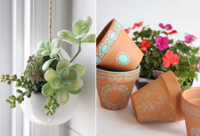 Stencilled pots hanging succulent pot