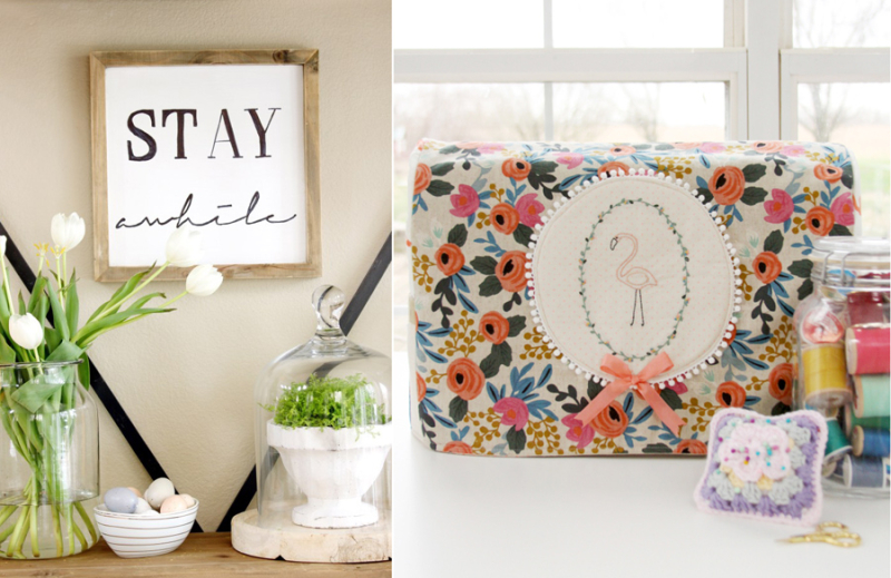 DIY sewing machine cover wooden frame sign