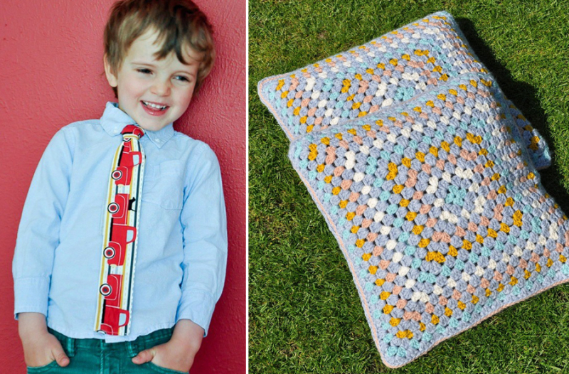 DIY kid's tie granny pillows