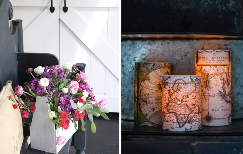 Vintage tool box flower trough map covered votives
