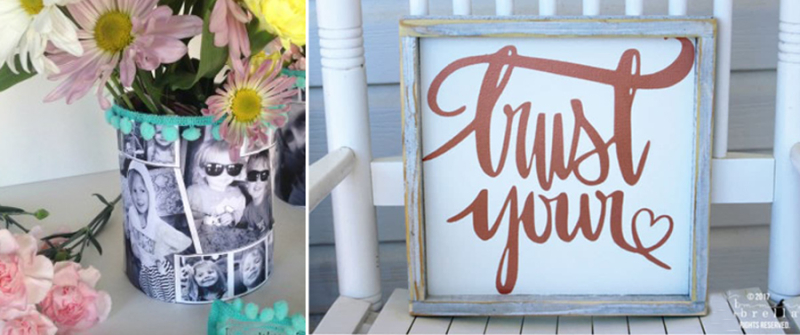 Trust your heart wood sign family photo vase