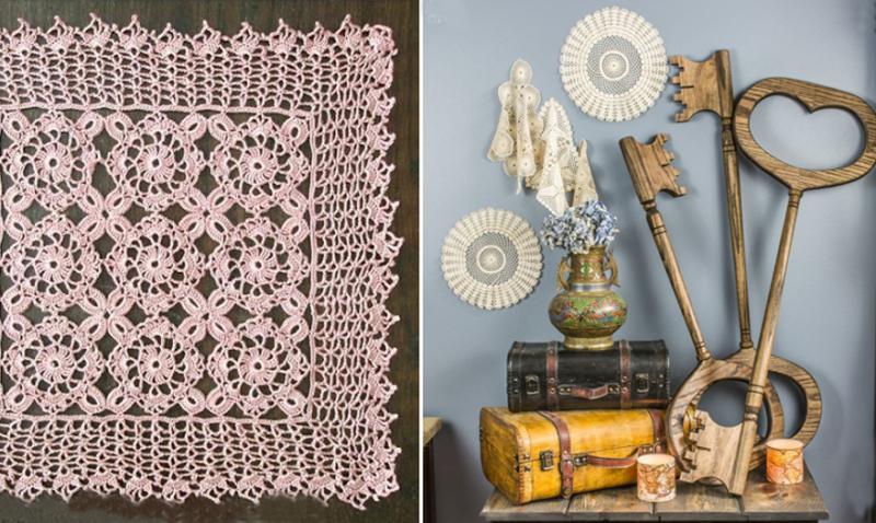 Huge wooden keys DIY crocheted square doily