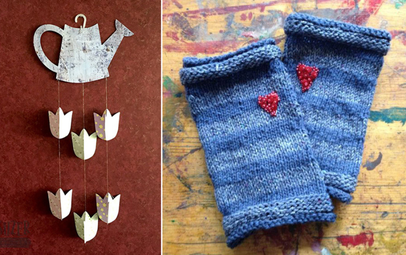Knit wrist warmers with beaded heart paper tulip wall hanging