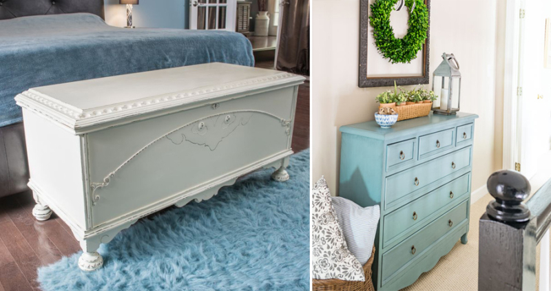 Cedar chest revamp with milk paint hall storage solutions