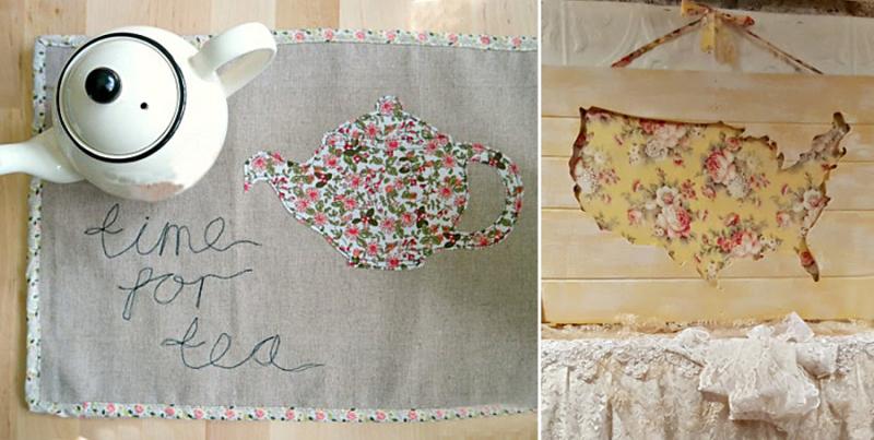 Floral USA map art time for tea applique place mat