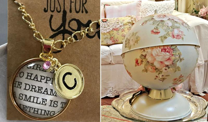 Floral decoupage globe  DIY monogrammed pendant