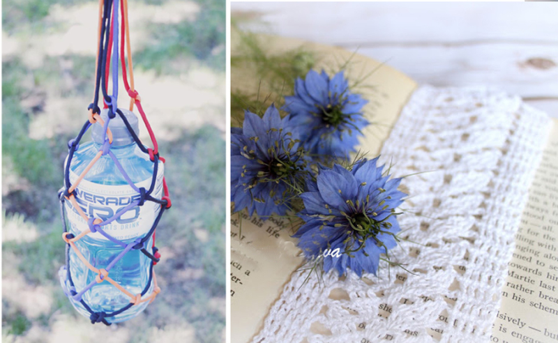 Parachord water bottle holder crocheted lace leaves bookmark