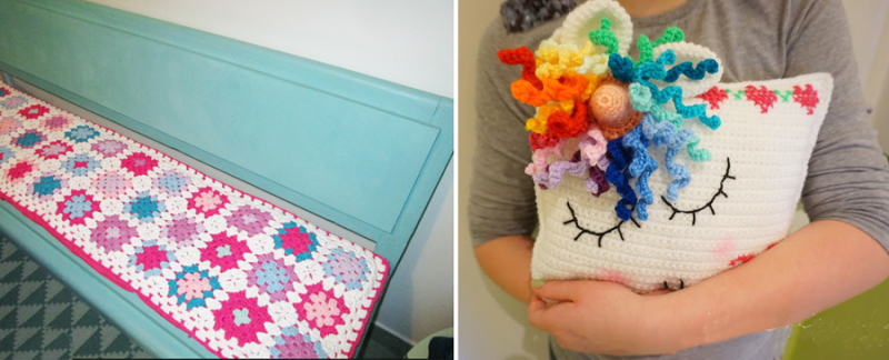Crocheted unicorn pillow granny square bench pad