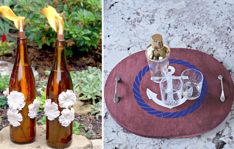 DIY wine bottle tiki torch tray from sink cut-out
