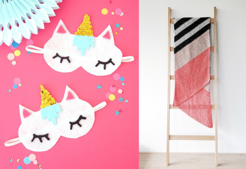 DIY unicorn sleeping masks  crochteted stripes shawl
