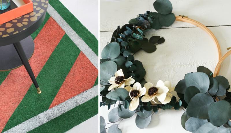 DIY painted astroturf rug eucalyptus embroidery hoop wreath