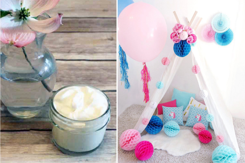 DIY teepee for unicorn party DIY hand creme