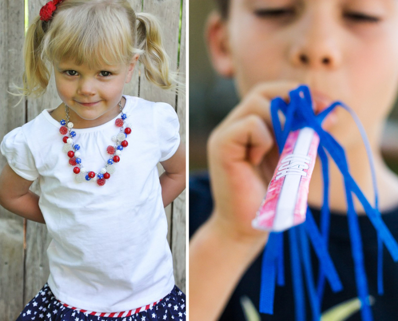 Kids 4th of july craft fireworks blower red white and blue necklace craft