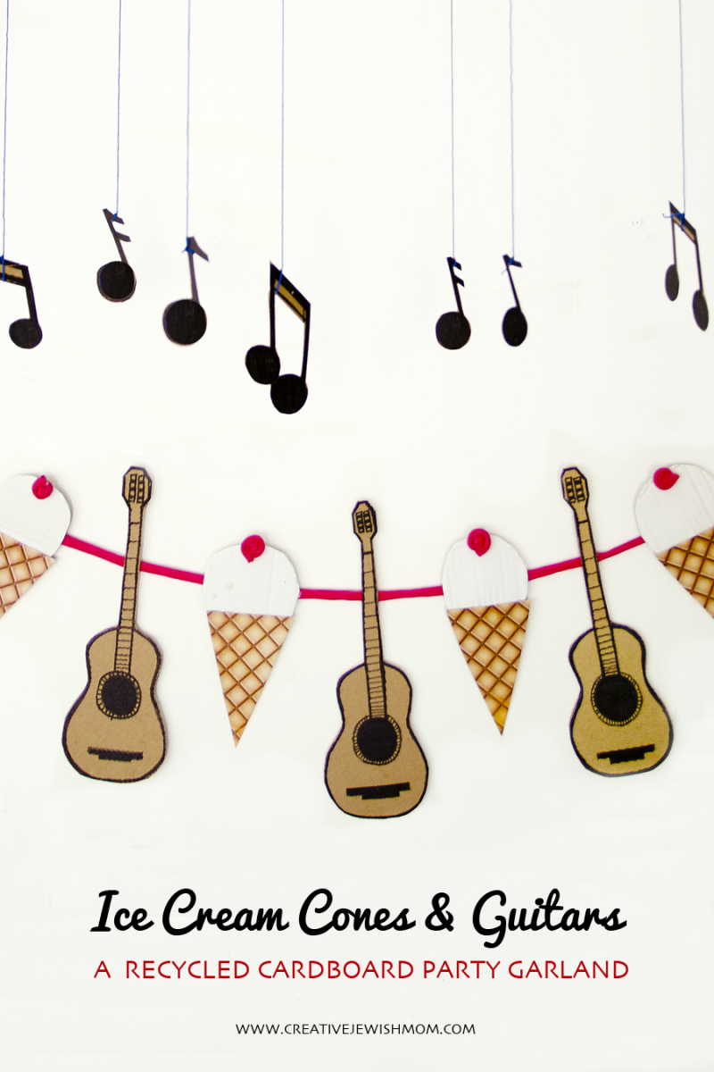 Ice cream Cones and Guitars Birthday Garland close up