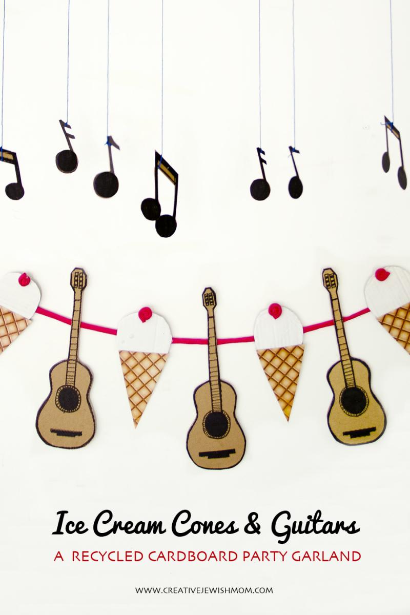Ice cream Cones and Guitars Birthday Garland close up