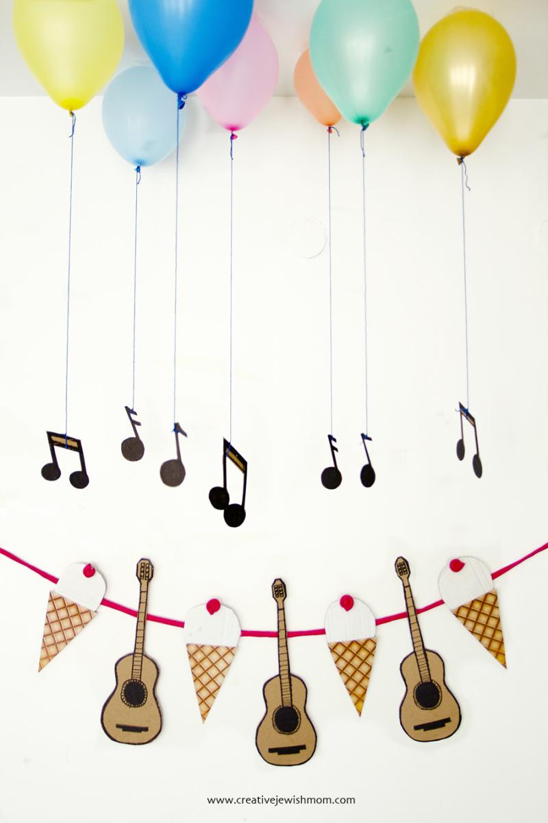 Ice cream Cones and Guitars Birthday Garland
