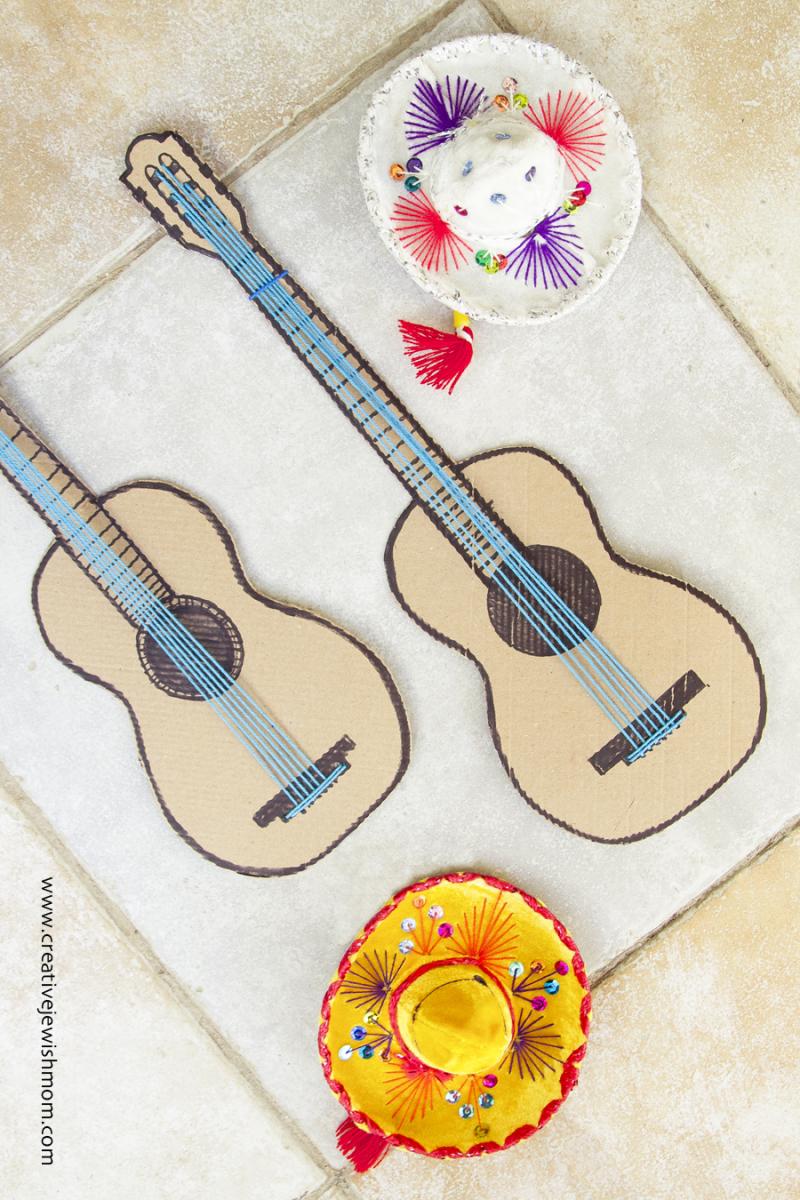 Cardboard Guitar With Strings Craft