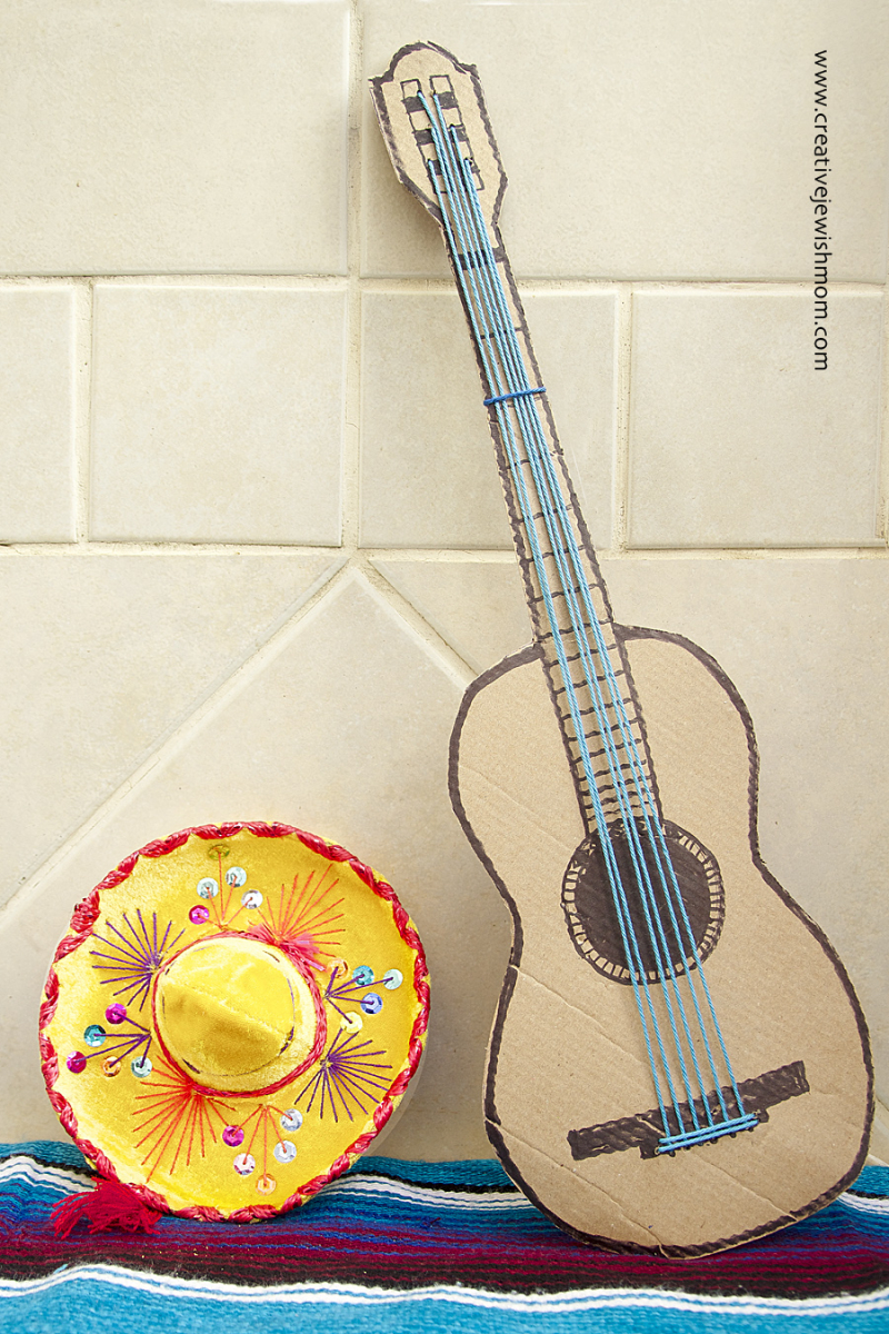 Cardboard Guitar With Strings Craft