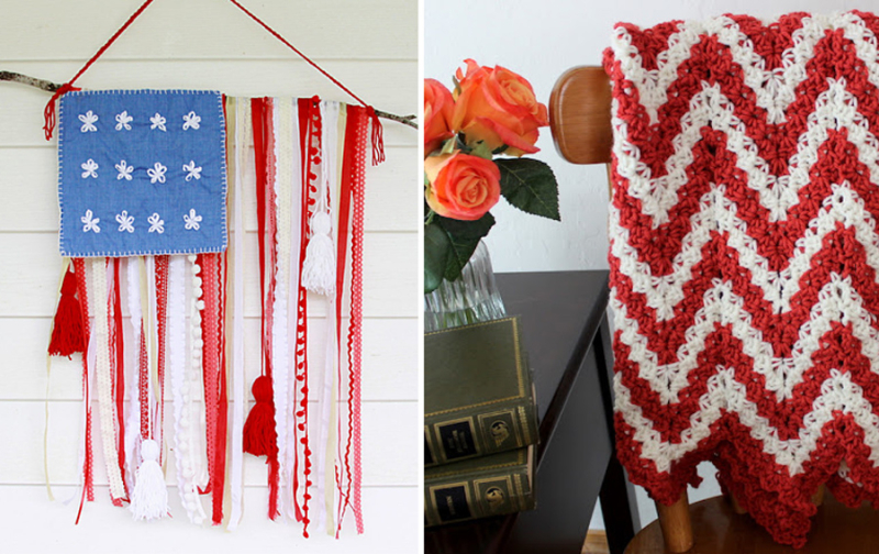 Ribbon and trim american flag zig zag red and white afghan