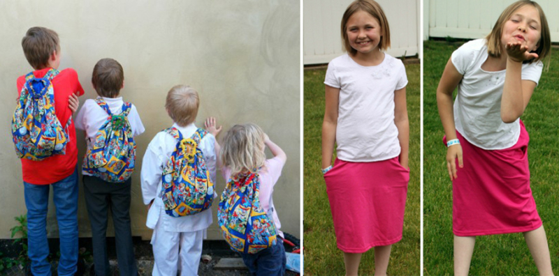 DIY backbacks to sew skirt from a t-shirt