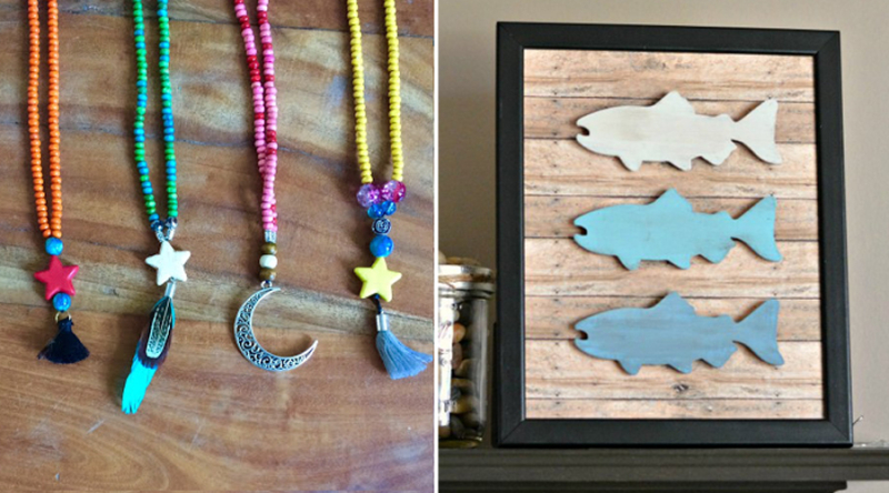 Rustic wood fish wall art beaded necklaces kid's craft
