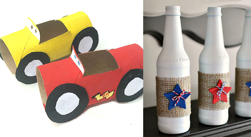 Toilet paper tube cars craft painted patriotic beer bottles