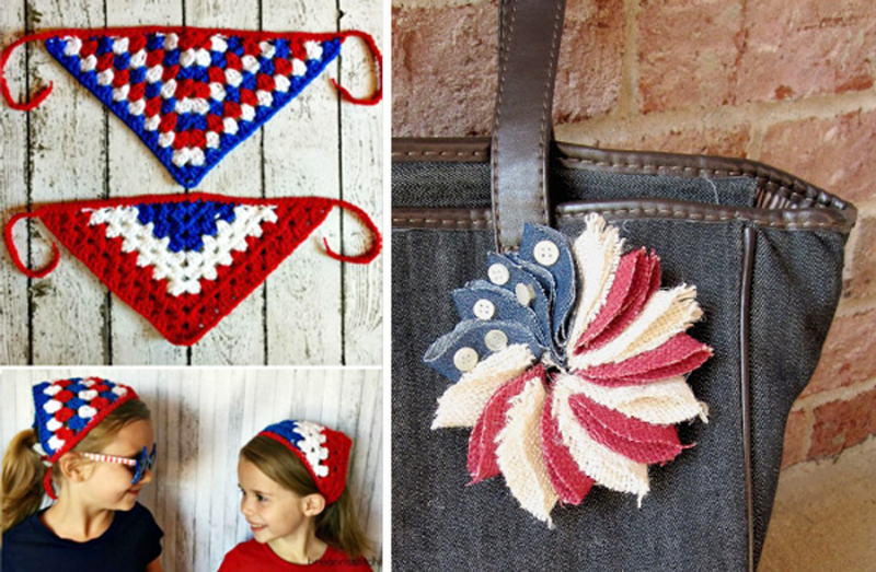 Crocheted granny bandana for girls fabric patriotic star pin