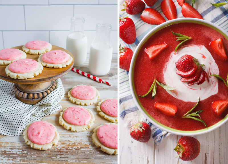 Cold strawberry soup strawberry icing cookies