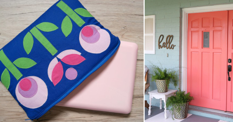 Coral painted front door applique modern lap top cover