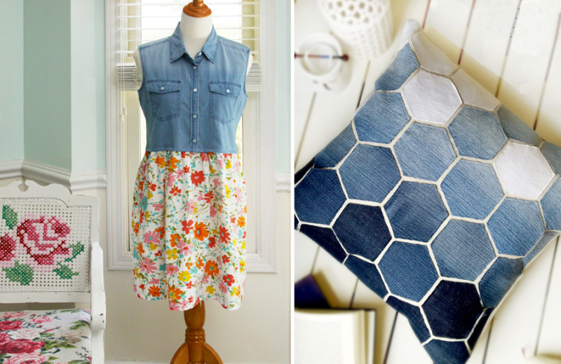 Hexigon recycled jeans pillow  jean top with vintage floral sheet skirt