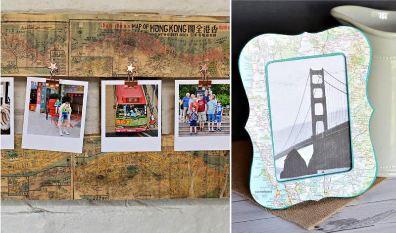 DIY poloroid palette board frame decoupage map frame