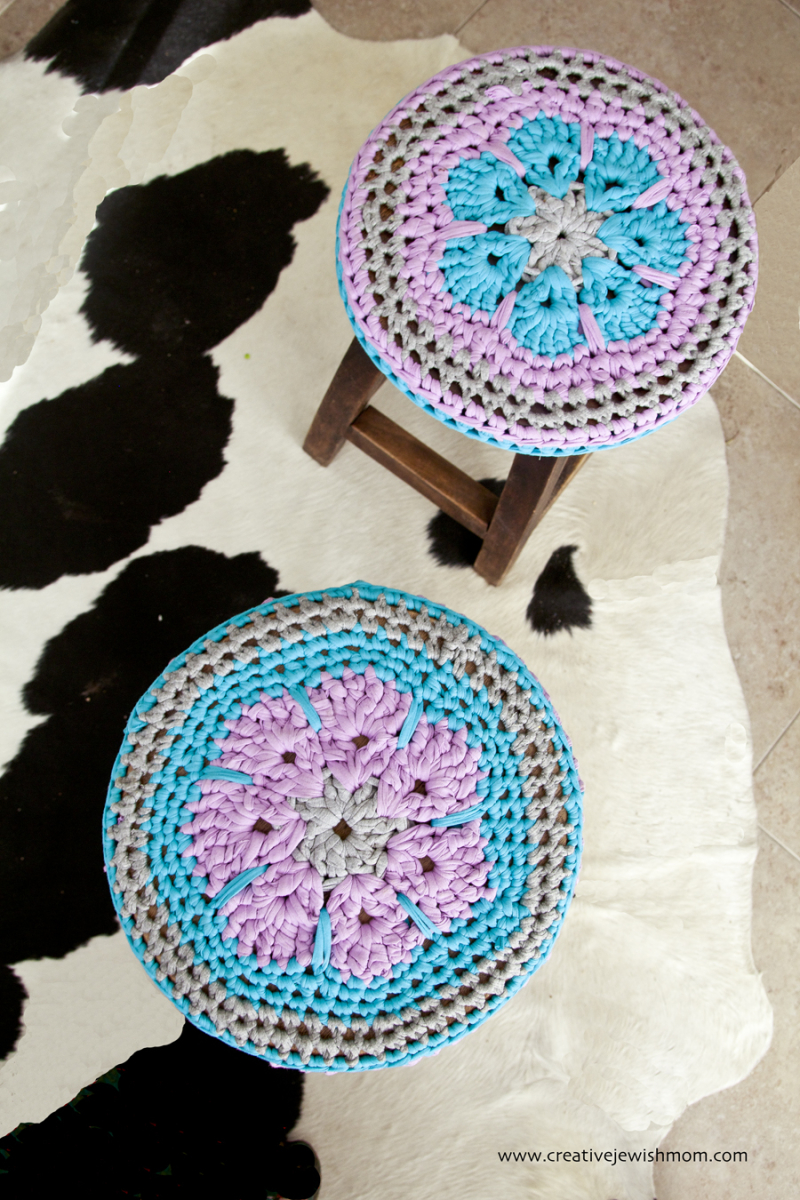 Crocheted T-shirt yarn flower center sstool covers