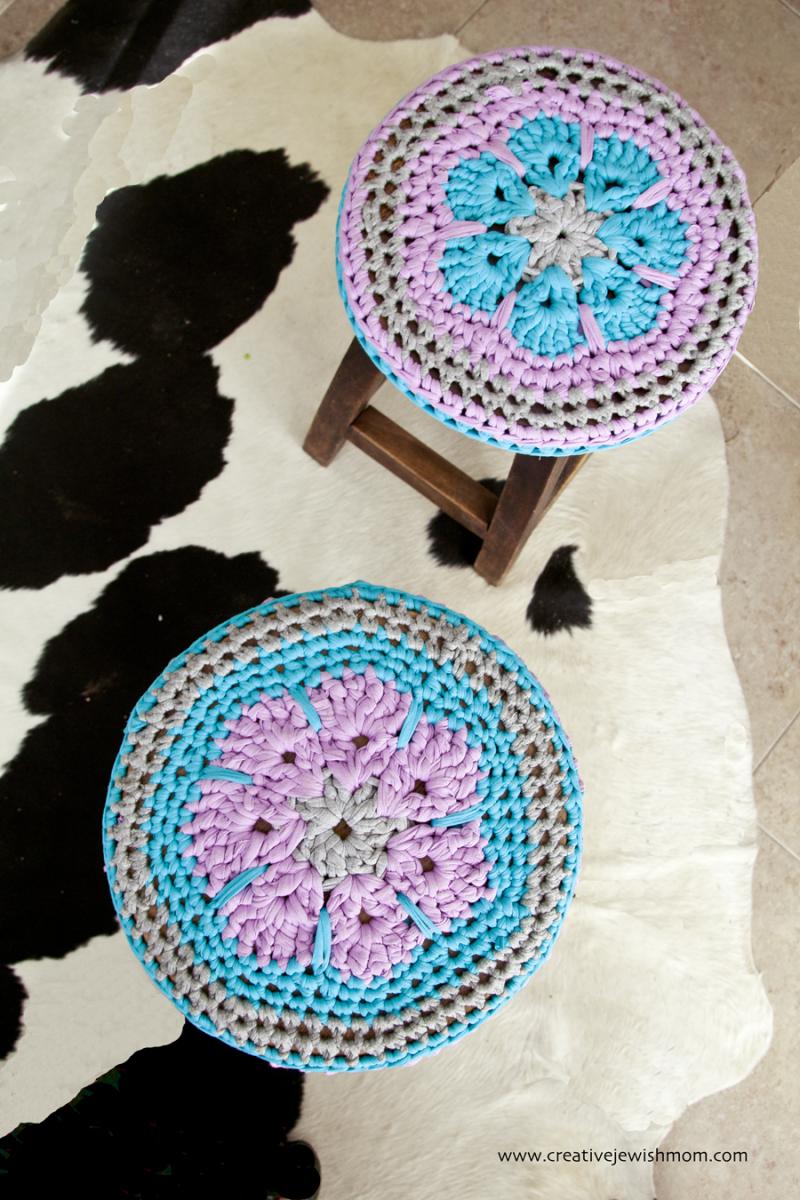 Crocheted T-shirt yarn flower center sstool covers