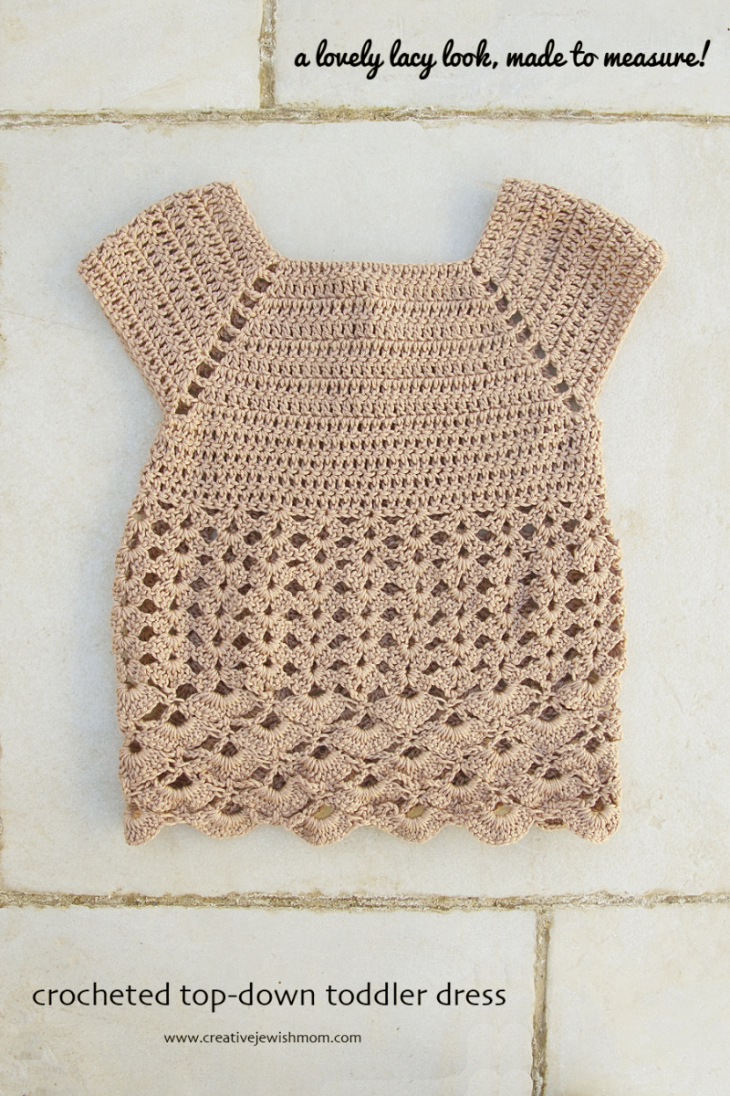 Crocheted lacy top down toddler dress front