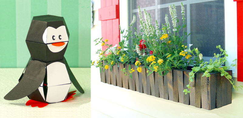 DIY wooden window box paper penguin bomb