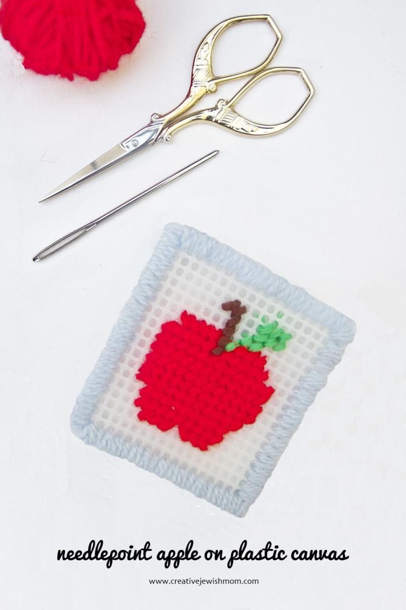 Plastic Canvas needlepoint apple