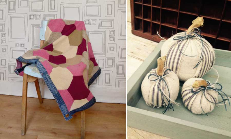 No sew fabric pumpkins hexigon quilt from old sweaters