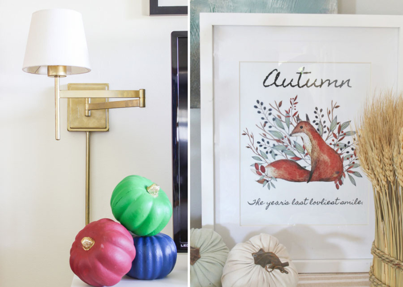 Autumn foxes printable multicolored pumpkins