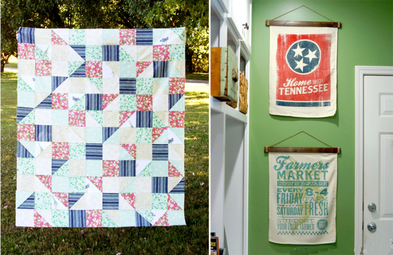 DIY dish towel hanger triangles and squares quilt