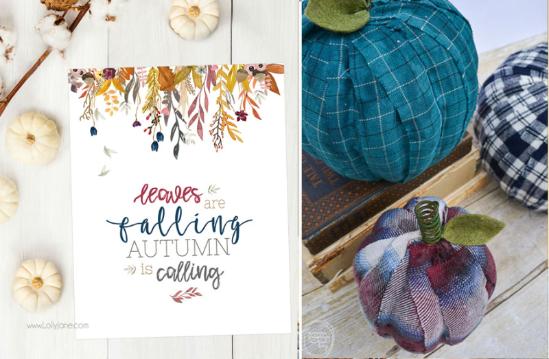 Plastic pumpkins covered with flannel strips fall printable