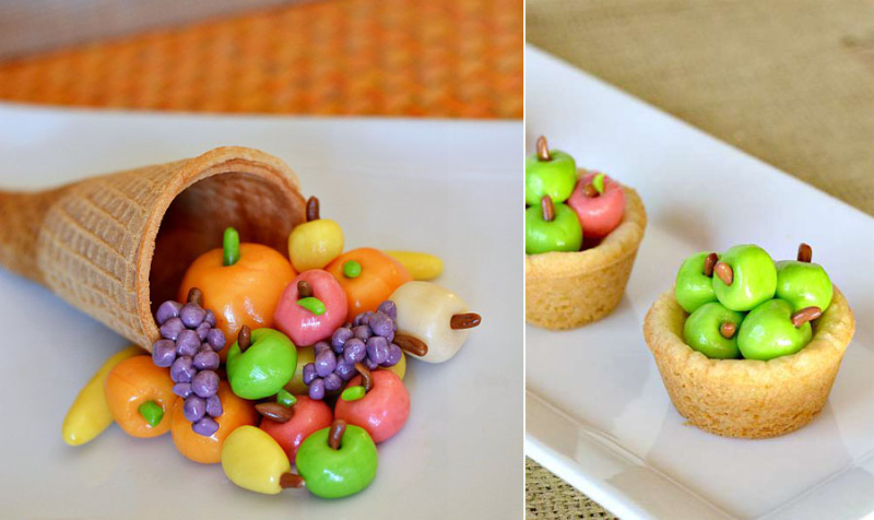 Tiny cany fall cornucopia tiny candy apples in cookie baskets