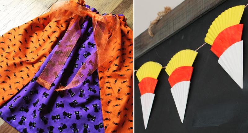 DIY costume cape cupcake wrapper fall bunting