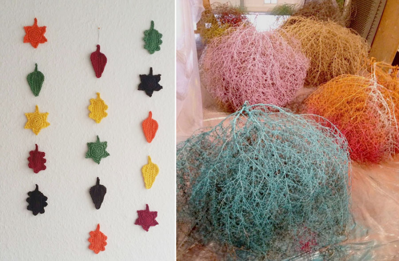 Crocheted fall leaf wall hanging  painted tumbleweeds