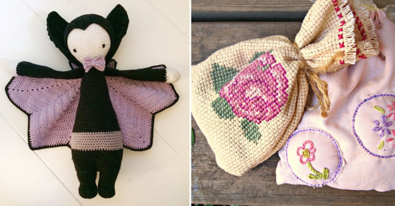 Embroidered lavender sachets crocheted vampire with lavender wings