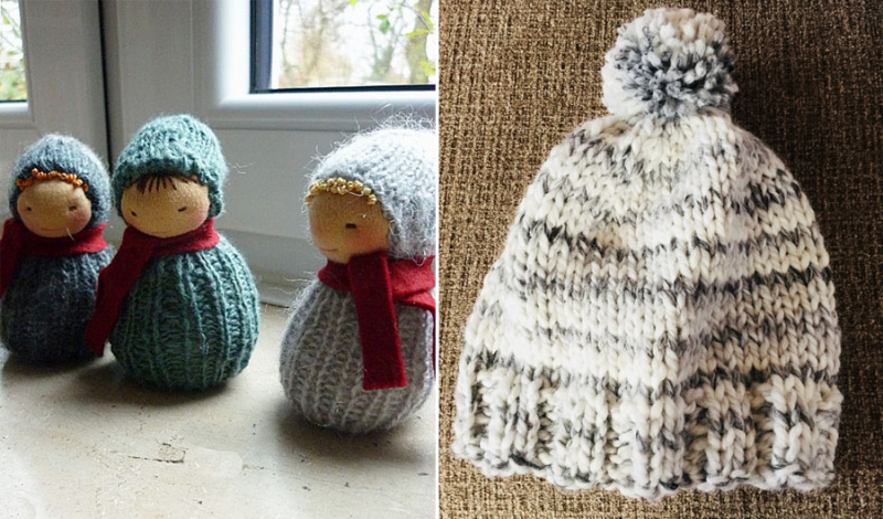 Knit grey and creme hat knit stocking dolls