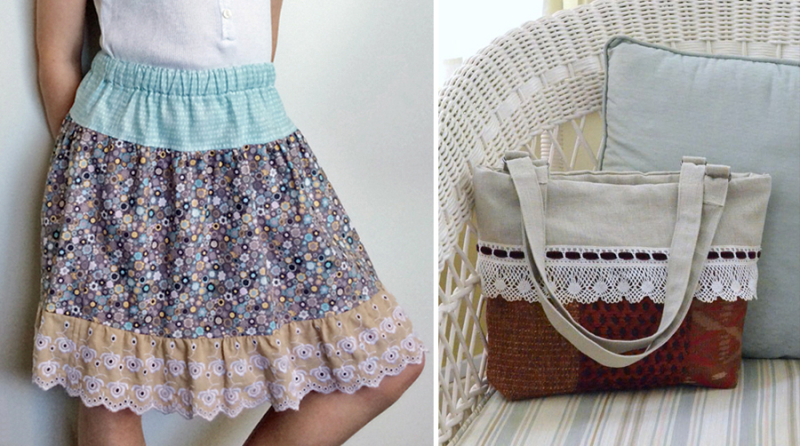 Gathered elastic waist skirt with lace lace trim purse