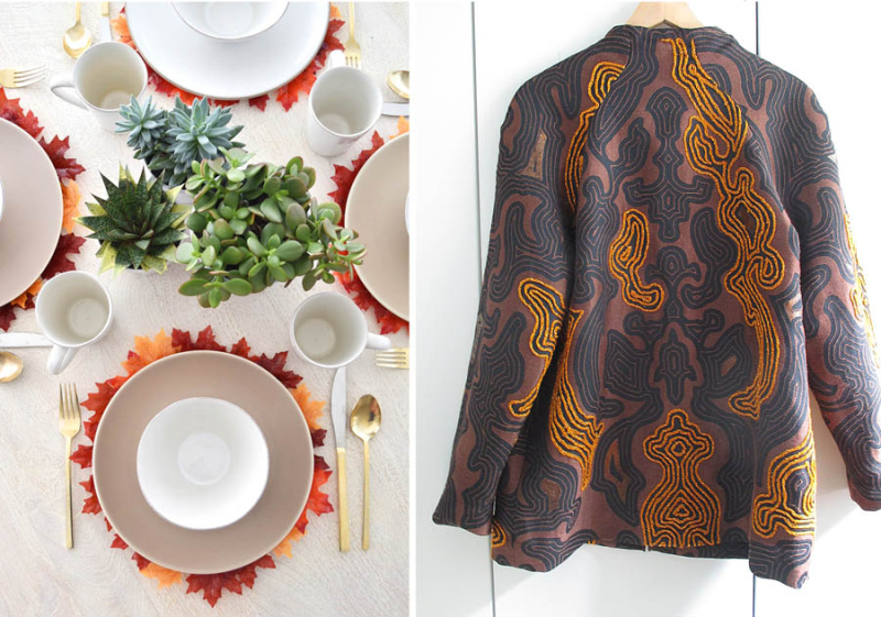 Jacket embriodered with finger knitting faux leaf fall place mats