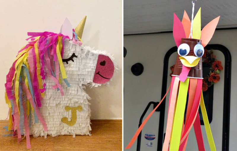 Unicorn pinata turkey wind sock with cup