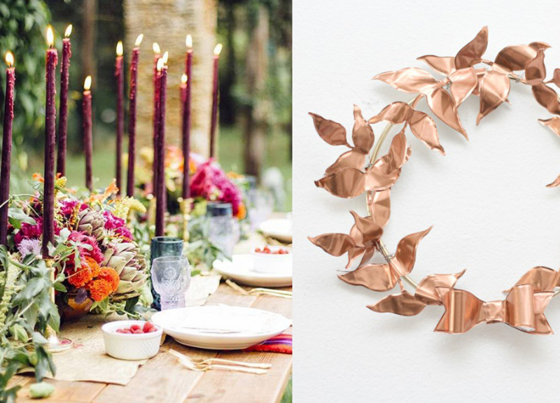 Centerpiece with leaves and candles copper leaf wreath